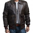 Men's A-2 Bomber USAF AIR Force Flight Distressed Brown Leather Jacket