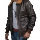 Aviator G-1 A 2 Flight Jacket Distressed Brown Real Goat Leather Bomber Jacket