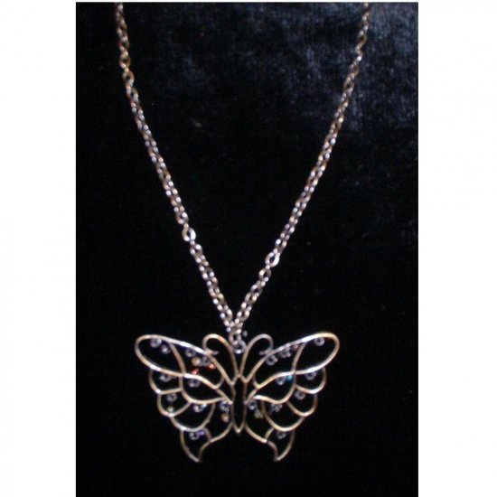 Big Butterfly Necklace With Red Blue Purple and Black Beads