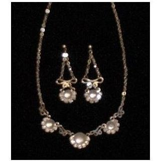 Silver Pearly Stone Sparkling Necklace Earrings Set