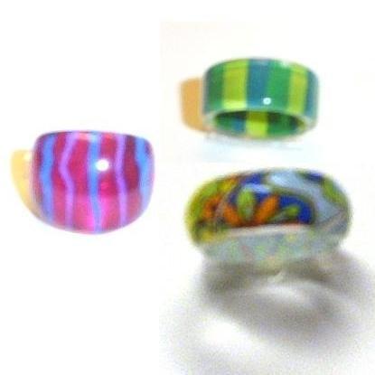 3 Fun Colorful Fashion Ring Rings Sz 7
