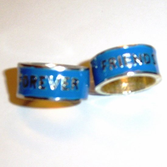 2 Silver and Blue Fun Fashion Friends Forever Ring Rings Sz 6
