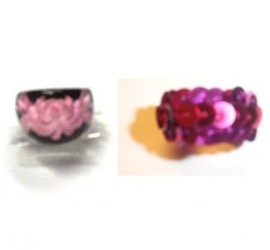 2 Fun Fashion Ring Rings Flower and Pink Sequins Sz 6