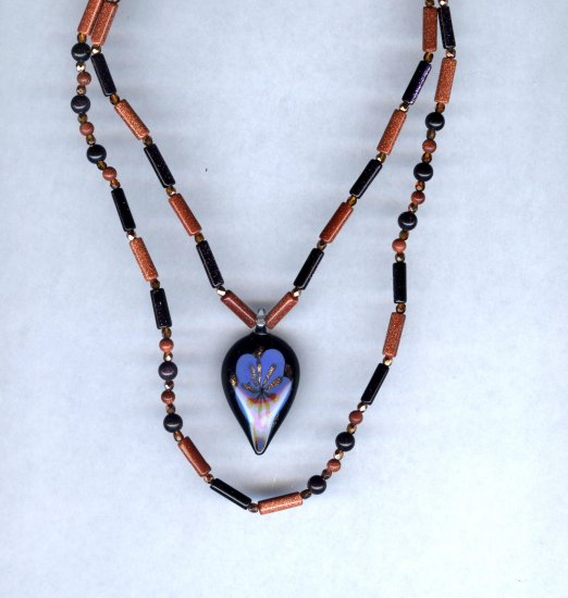 Blue & Brown Goldstone Necklace