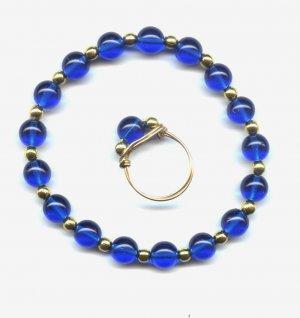 Blue Druk Glass bead Bracelet & Ring set
