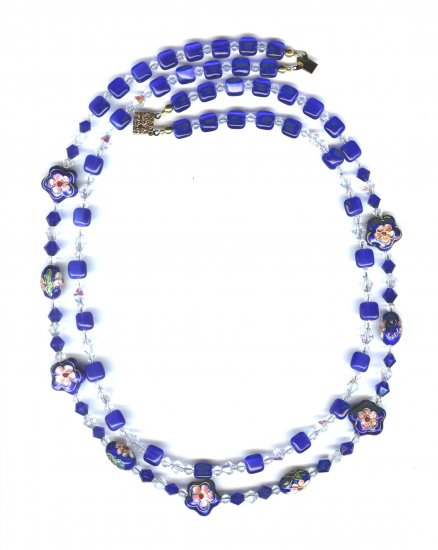 Dark Blue Cloisonne necklace