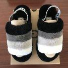 Black White Size US7=Eur38 Women Furry Slippers Australia Fluff Yeah Slides Fur Slides Slippers