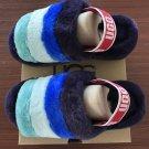 Purple Size US4=Eur35 Copy Women Furry Slippers Australia Fluff Yeah Slides Fur Slides Slippers