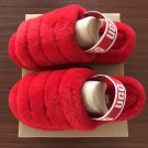 Deep Red Size US4=Eur35 Copy Women Furry Slippers Australia Fluff Yeah Slides Fur Slides Slippers