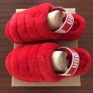 Deep Red Size US7=Eur38 Copy Women Furry Slippers Australia Fluff Yeah Slides Fur Slides Slippers