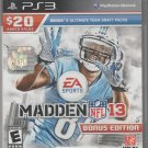 EA Sports Madden NFL 13: Bonus Edition (Sony PlayStation 3, 2012) Complete.
