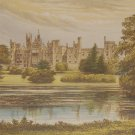 Alton Towers Antique Print 1880 Chromolithograph