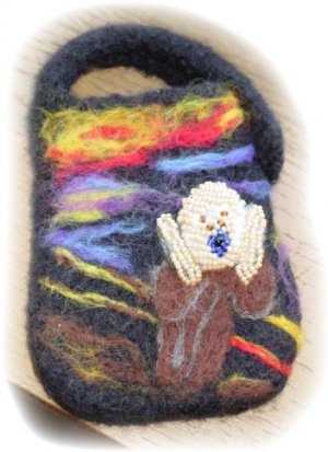 Electronics case Hand Knit Felted Beaded The Scream Phone, GPS, MP3, MP4, Black Includes/Shipping