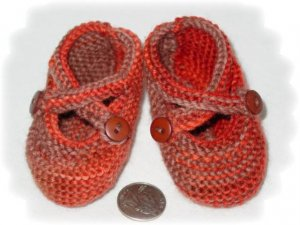Darling Wool Mary Jane Baby shoes, button crossing straps, Hand Made,to 6 Month, Salmon and Tan