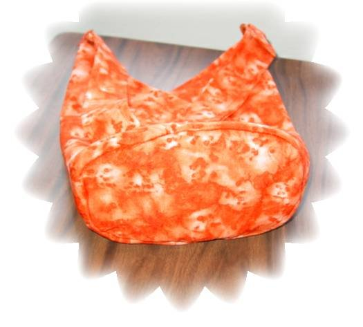 Cute little two triangle Tote/Purse orange with burnt orange lining, many extras