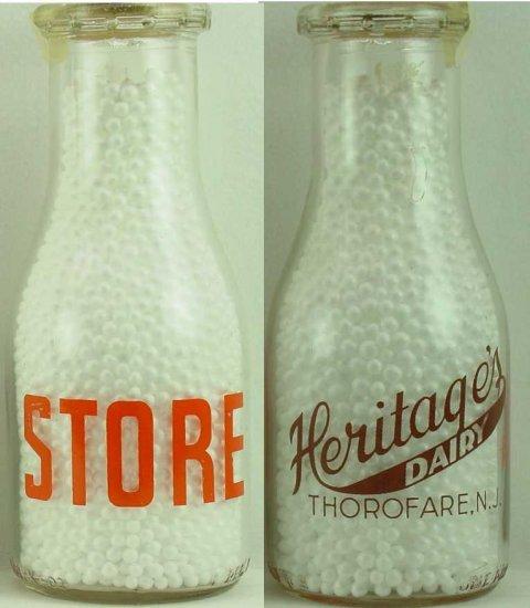 HERITAGE DAIRY, Thorofare, NJ milk bottle 2 color Mint pyro rd pt p192 read FAQ more Milk Bottles
