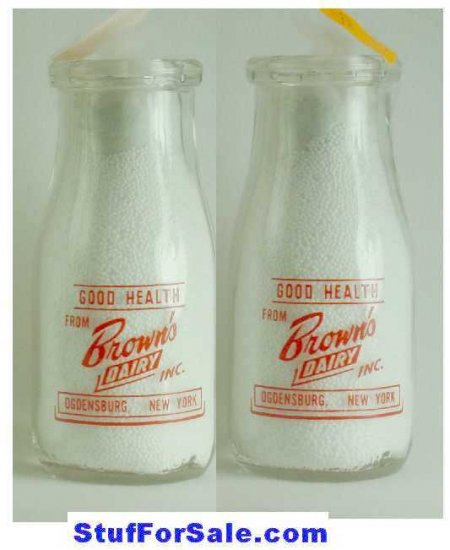 BROWN'S DAIRY, Ogensburg, NY Milk Bottle PyrRd HP E plus p13read FAQ more � Milk Bottles