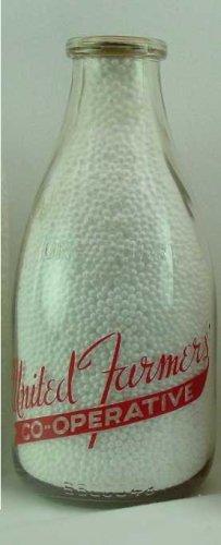 UNITED FARMER'S CO-OPERATIVE, Mass BB Seal (Sq) Milk Bottle PyrER Squat Qt Mint p145
