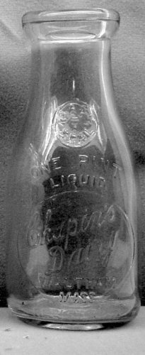 CHAPIN'S DAIRY, Waltham, MASS Mass T seal � Milk Bottle � Emb Pt E+ p504/468 read faq