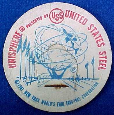 UNISPHERE UNITED STATES STEEL NEW YORK WORLD�S FAIR MILK BOTTLE CAPS sp8-read FAQ more ..