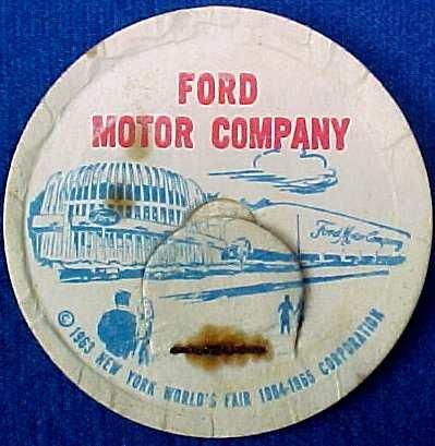 FORD MOTOR CO. NEW YORK WORLD�S FAIR MILK BOTTLE CAPS sp15-read FAQ more