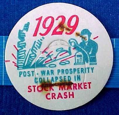 STOCK MARKET CRASH 1929 HISTORICAL MILK BOTTLE CAPS sp17a-Quantities Available read more