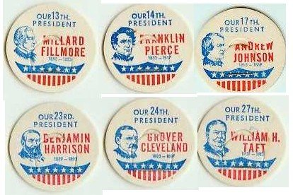 Fillmore, Pierce, Johnson, Harrison, Cleveland, Taft, SET OF 6 Presidents Caps pLsA-more