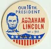 ABRAHAM LINCOLN, 16th PRESIDENT MILK BOTTLE CAPS Historical p16L read more . . . .