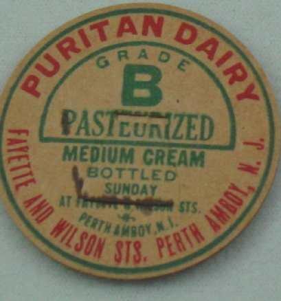 PURITAN DAIRY, PERTH AMBOY, NJ, MED. CREAM, MILK BOTTLE CAPS, Mc39-Quantities avail