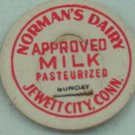 NORMAN'S DAIRY, JEWITT CITY, CONN, APPROVED MILK, CREAMER CAP, MILK BOTTLE CAP, Mc38-read FAQ