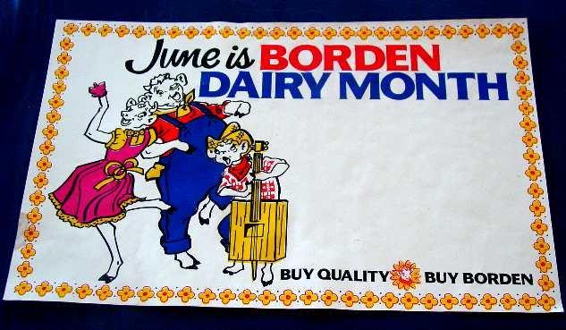 ELSIE BORDEN JUNE IS DAIRY MONTH PAPER SIGN ncs-106