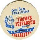 THOMAS JERRERSON, 3rd PRESIDENT 51mm MILK BOTTLE CAPS Historical p3M  read more . . . .