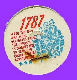 US Constitution, 1787 Historicak Milk Bottle Cap sc23
