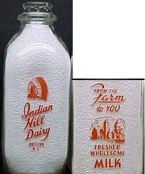 INDIAN CHIEF Milk Bottle, INDIAN HILL DAIRY, Jobstown, NJ, p328