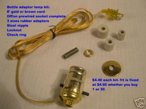 pre-wired bottle adaptor lamp kits