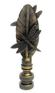 Lamp parts: ANTIQUE BRASS DRAGONFLIES ON A LEAF LAMP SHADE FINIAL