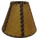 """LOT OF 8 FAUX OILED KRAFT LACED 9"""" DOUBLE-LACED LAMP SHADE- REG CLIP  OKL-09DL"""