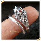 New Product Antique Silver Ring Garnet Stone Snake Motif original from Bali Indonesia