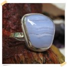 Best Seller Antique Silver Ring Blue Lace Agate Adjustable Size original from Bali Indonesia