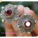Antique Subeng Bali Silver Earrings Garnet and Zircon Stone original from Bali Indonesia