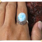 Best Seller Antique  Adjustable Bali Silver Ring Natural Stone Larimar from Bali Indonesia
