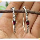 Antique Silver Earrings, Hoop Earrings With Stone Garnet original from Bali Indonesia