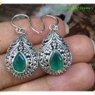 Antique Silver  Bali Earrings with EMERALD / Emerald (Original) Stone from Bali Indonesia