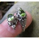 New Product Antique Silver Snake Head Ring Two Peridot Stones - For Men original from Bali Indonesia