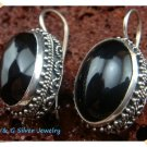 Antique Silver Bali Silver Black Stone Onyx Earrings from Bali Indonesia