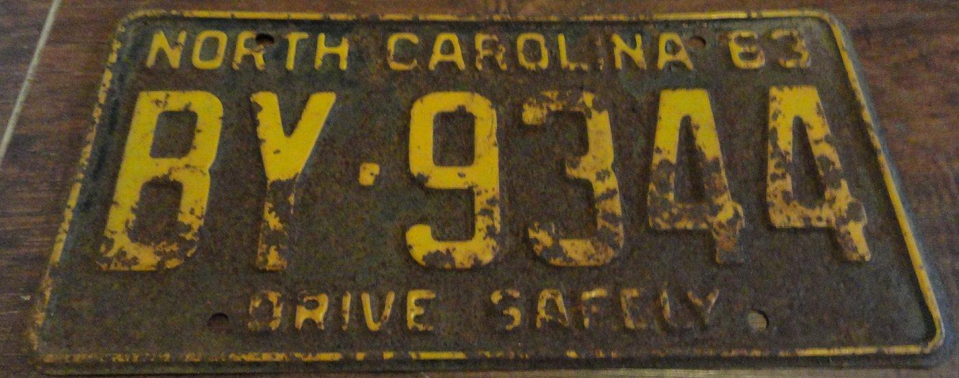 1963 BY 9344 North Carolina license plate