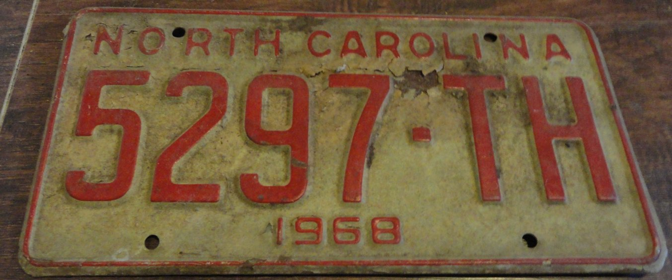 1968 5297 TH North Carolina license plate