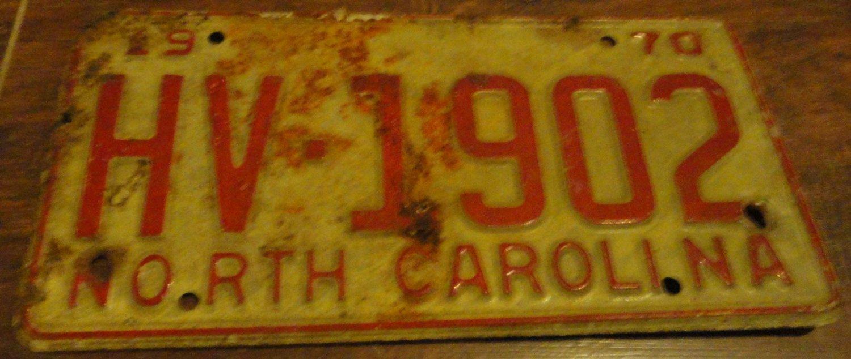 1970 HV 1902 North Carolina license plate