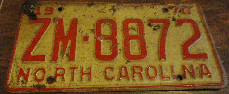 1970 ZM 8872 North Carolina license plate