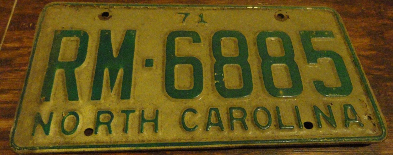 1971 RM 6885 North Carolina license plate